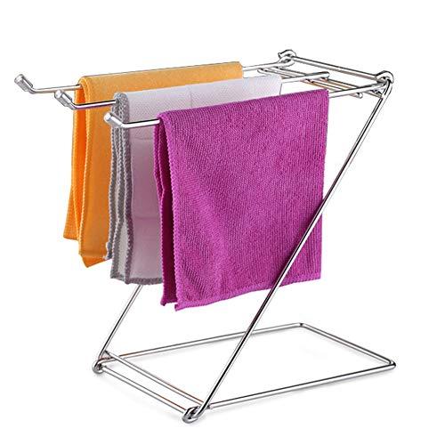 iloving Platzsparende Handtuch Rack Halter Edelstahl Home Täglichen Leben Faltbare Tisch Küche Lumpen Freistehende Bad Rostfrei