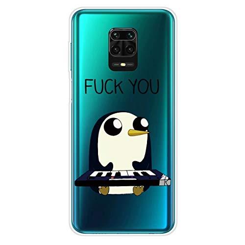 Miagon Transparent Hülle für Xiaomi Redmi Note 9S,Pinguin Muster Kreativ Süße Durchsichtig Klar Soft Ultra Dünn Silikon Case Cover Schutzabdeckung