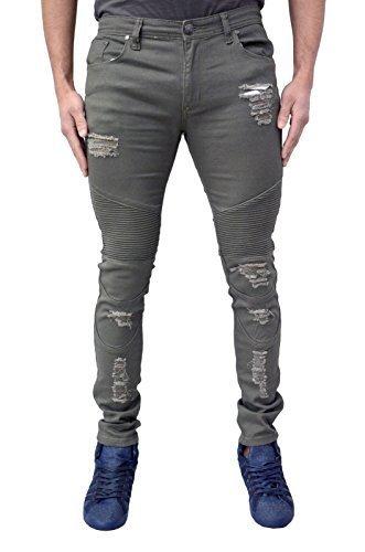 Soul Star Homme Design Skinny Extensible Motard Jeans Fin Rip & Réparation Délavé Déchiré Look Mode Jeans - Kaki, 32W x 30L