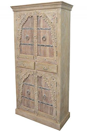 Orientalischer grosser Schrank Kleiderschrank Belen 190cm hoch | Marokkanischer Vintage Dielenschrank schmal | Orientalische Schränke aus Holz massiv für den Flur, Schlafzimmer, Wohnzimmer oder Bad