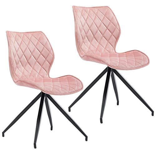 Duhome 2er Set Esszimmerstuhl aus Stoff Samt Hell Rosa Pink Polsterstuhl Retro Design mit Rückenlehne Metallbeine Farbauswahl 5180D