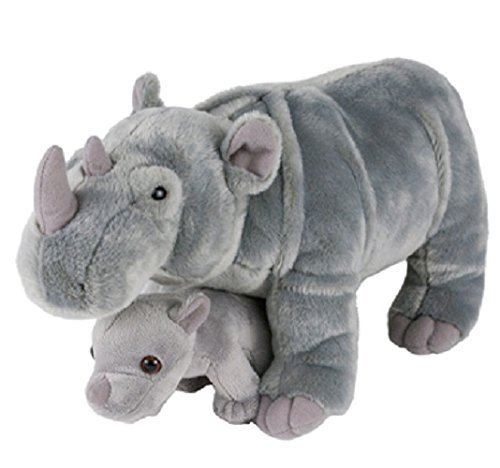 "Adventure Planet Birth of LIfe Rhino and Baby Plush Toy 14"" Long"