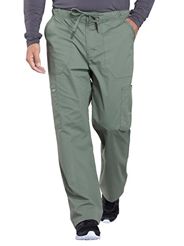 CHEROKEE Workwear Professionals WW190 Men's Tapered Leg Drawstring Cargo Pant, Olive, Large Short
