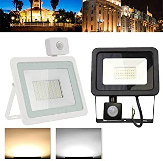 10W Security Light with Motion Sensor Power, LED Floodlight with PIR, Waterproof Sensor Floodlight, 3000K Daylight Warm Wh...