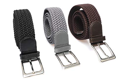 3 piezas de cinturones elásticos elásticos trenzados elásticos 115 cm de largo 3.5 cm de ancho, 1 x negro, 1 x marrón y 1 x gris.