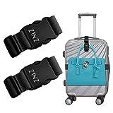 2 pezzi ZINZ da viaggio cinghie bagagli ad alta elasticità imballaggio cintura valigia cinghie regolabile sicurezza, Nero I