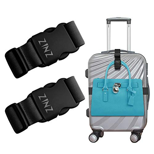 ZINZ 2 PCS High Elastic Luggage Straps Suitcase Belt, Heavy Duty Bag Straps Bungees Travel Accessories, Can be End to End Connect with Buckles for Adding The Length, Black, One Size