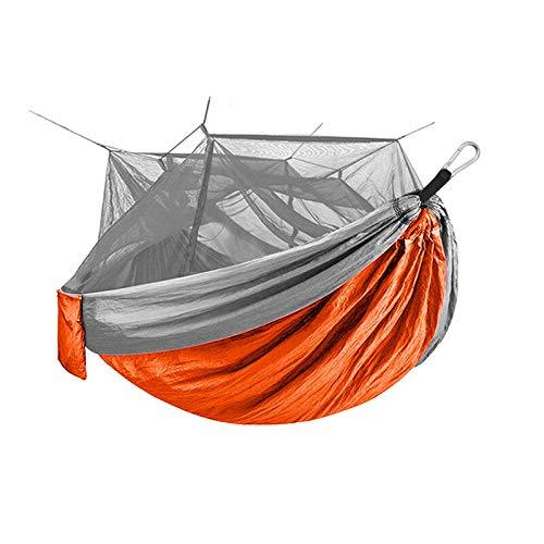 HULDORO Außerhalb Camping Jackanapes Picknick Hängematte mit Moskitonetz 1-2 Person beweglicher Rucksack Hängematte Isomatte Reisenhammock (Color : Orange)