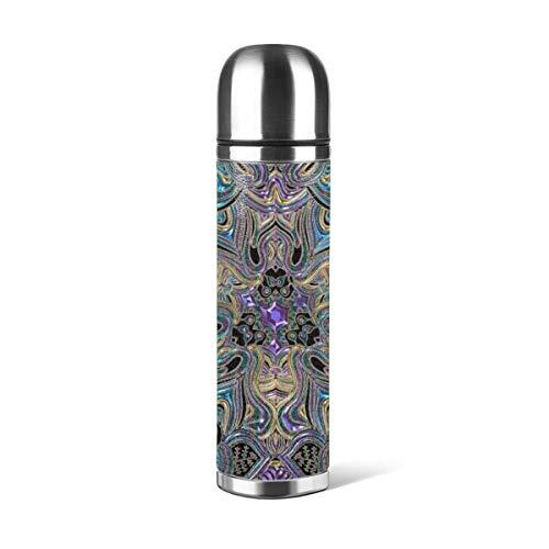 Art Fan-Design - Botella de agua de acero inoxidable con diseño de mandala turquesa y morado y dorado con aislamiento al vacío de piel a prueba de fugas, doble pared, contenedor de viaje, termo de 500 ml