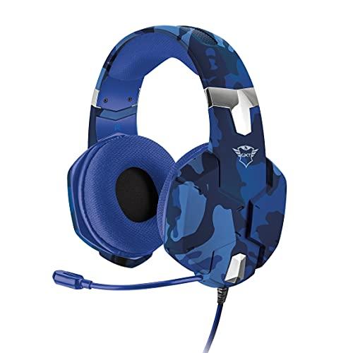 Trust Gaming GXT 322B Carus Cuffie per Playstation 4 & 5, PS4, PS5, con Microfono Flessibile, 3.5 mm Jack, Filo, Over Ear, Controllo del Volume ed Esclusione Audio del Microfono, Blu