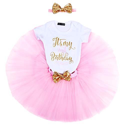 FYMNSI Baby Mädchen 2. Geburtstag Party Outfit Baumwolle Kurzarm Body Strampler Prinzessin Tütü Tüll Rock Pailletten Schleife Stirnband 3tlg Bekleidungsset Fotoshooting Kostüme Rosa 2 Jahre