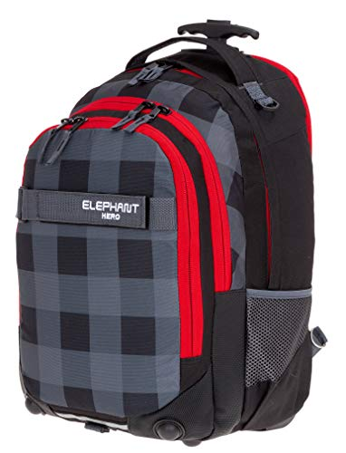 Elephant Trolley Hero Signature Trolleyrucksack Rucksack Schultrolley (Plaid RED (Schwarz Dunkelrot))