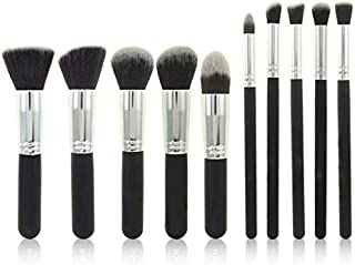 10 Pieces Makeup Brushes Set for Faces Eyes Eyeshadow Eyeliner Foundation Blush Lip Bronzer,Black