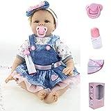ZIYIUI 22 Pollici 55cm Bambole Reborn Femmina Bambola di Silicone per Bambini Occhi Blu Giocattoli per Neonati Regali di Natale Reborn Baby Toddler