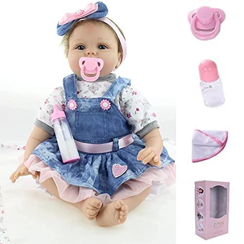 ZIYIUI Reborn Baby Mädchen 22zoll/55cm Babypuppen Reborn Girl Toddler Silikon Puppen Baby Im Jeansrock Handgemacht Kinderspielzeug