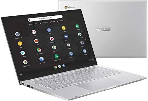 "Asus Chromebook C425 Clamshell Laptop, 14"" FHD 4-Way NanoEdge, Intel Core m3-8100Y Processor, 4GB RAM, 128GB eMMC Storage, Backlit KB, Silver, Chrome OS, C425TA-WH348 (Renewed)"