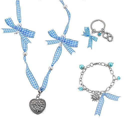 MJARTORIA 3er Damen Oktoberfest Schmuck Set Rot Armband Halskette Ohrringe mit Edelweiß Herz Anhänger Charms Trachtenschmuck Dirndl Accessoires (Blau)