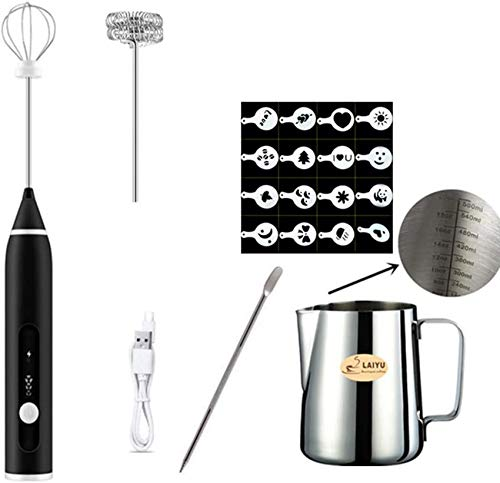 weiwei Milk frother USB charging baking tool hand butter whisk three-stage adjustable USB whisk black.