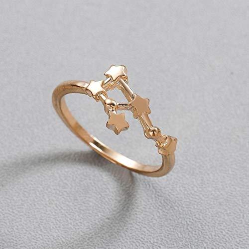 LPNJLALA Kreative Stern Sternzeichen Sternbild Ring Waage Zwillinge Stier Krebs Widder Ringe für Frauen Mode, Zwillinge, Gold-Farbe