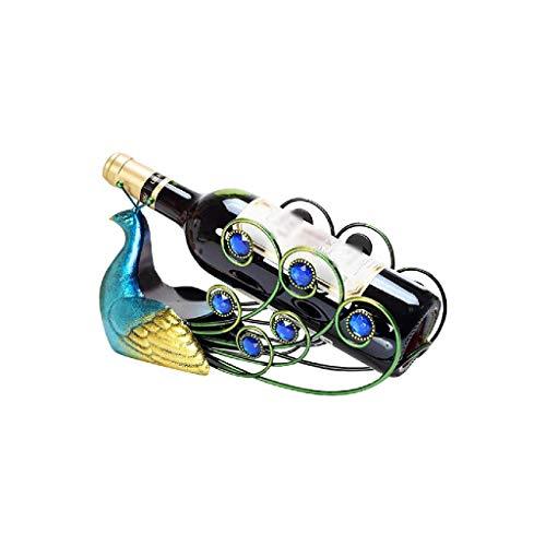 NXYJD Resina Vino Rack Elegante del Pavo Real de Hierro Forjado del Vino de Rack Titular de la Botella de Mesa Creativa artículos de Equipamiento de visualización