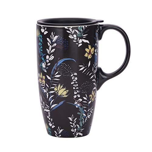 TZSSP Coffee Ceramic Mug Porcelain Latte Tea Cup With Lid 17oz. Black
