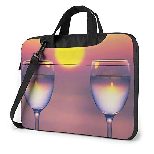 Lawenp Estuche para computadora portátil Bolsa para computadora Funda para manga Copa de vino Sunset Maletín impermeable para hombro 13 14 15.6 pulgadas