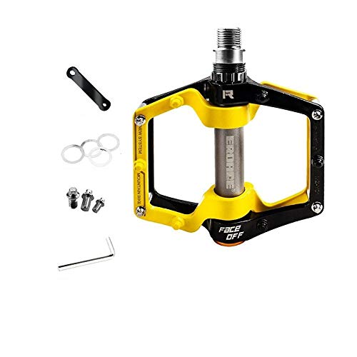 Mountain bike pedal aluminum alloy pedal bicycle pedal non-slip universal bearing accessories-Black and yellow