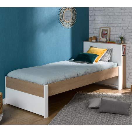 Alfred & Compagnie Noémi bed 90 x 200 cm hoofdeinde met lattenbodem, wit