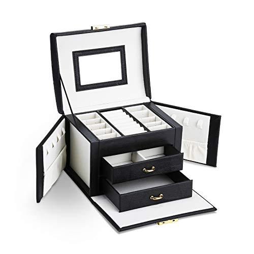 Asvert Caja Joyero Organizador de Joyerías 3 Niveles Cuero con Espejo para Pendientes, Pulseras, Anillos, Almacenamiento y Expositor 17.5x13.5x12cm