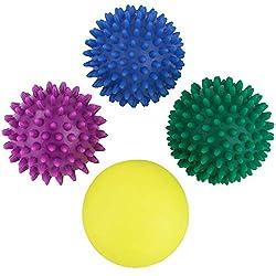 BB Sport Massage Ball 4er Set of hedgehog balls in different degrees of hardness Massage balls with nubs