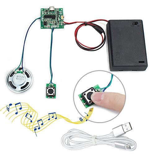 WayinTop MP3 Sound-Chip Modul Beschreibbares Programmierbare Musik Soundmodul 8 MB USB Herunterladbar Aufladbarer mit AA Batteriebox und Micro USB Kabel für für DIY Geschenk