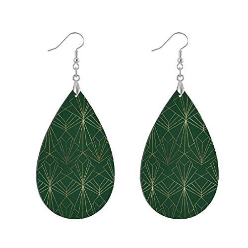 Pendientes de madera de moda gota colgantes ligeros lágrima pendientes forma gota pendiente para las mujeres joyería art deco en verde esmeralda