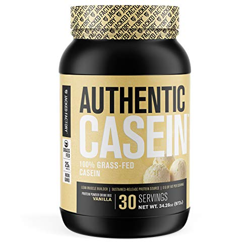 Authentic Grass Fed Micellar Casein Protein Powder - Slow Absorbing, Low Carb, Non-GMO, Grass-Fed Muscle Building Casein w/BCAAs for Sustained Post Workout Muscle Recovery - 30 Sv, Vanilla