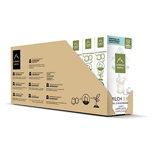 La Natura Milch - 100 kompostierbare Milchkapseln, Nespresso kompatibel, 10 x 10er Pack