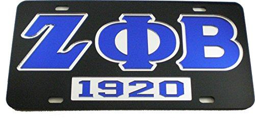 Cultural Exchange Zeta Phi Beta 1920 Mirror Insert Car Tag License Plate [Black - Car/Truck]