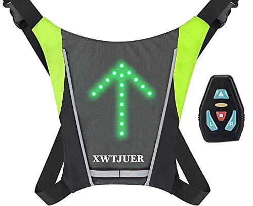 XWT Bike 48 LED Chaleco con Luces Intermitentes Carga USB, Reflectante, Inalámbrico, Mochila para Bicicleta con Indicador de 5 Ajustable Direcciones para Advertencia Nocturna en Bicicleta.