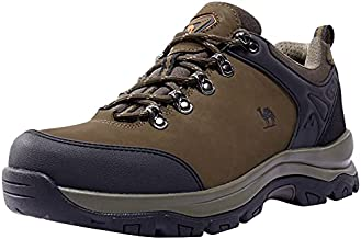 CAMEL CROWN Men's Hiking Shoes Low Top Trekking Boots Non-Slip Walking Sneakers for Outdoor Work Trail Casual (Dark Brown, Numeric_7)