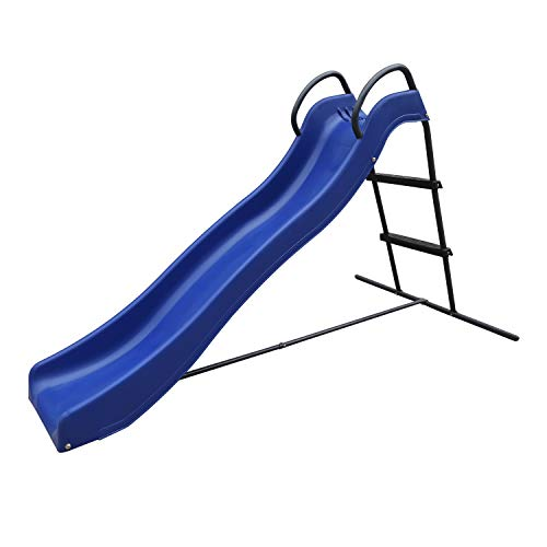 AXI Freistehende Rutsche mit Wasseranschluss 180cm Blau & Anthrazit | Gartenrutsche aus Metall & Kunststoff für den Garten