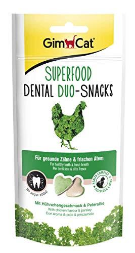 GimCat Superfood Duo-Snacks Dental - Katzentabs ohne Zuckerzusatz für gesunde Zähne und frischen Atem - 8 Packungen (8 x 40 g)