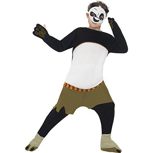 Smiffy's 20495L - Kung Fu Panda Po Bambini Costume Bianco e Nero con Imbottito All-In-One e Maschera, L