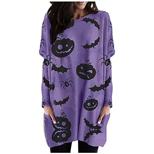 UEsent Vestido largo para mujer, para Halloween, cuello redondo, con bolsillo, estampado de Kürbis, Lila-b, S