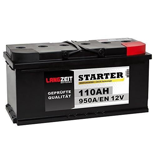 LANGZEIT Autobatterie 110Ah 12V 950A/EN Starterbatterie