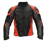 SM Sport Chaqueta de Moto para Hombre Textil para Invierno y Verano con Protecciones en Espalda y Codos, Forro Extraíble Lavable con Bolsillos con Joroba (XL, Rojo)