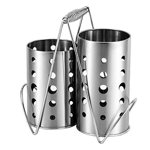 Daoyuan Kitchen Stainless Steel Utensil Holder Kitchen Basket Stand Removable Sink Drainer Utensil Holder, Cutlery Holder, Cutlery Holder, Cutlery Basket with Carry Handle,Set