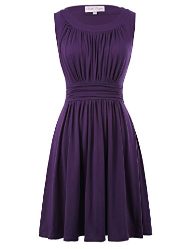 Sleeveless A-Line Swing Vintage Dress for Women Crew-Neck Size XL Purple