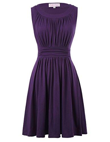 Sleeveless A-Line Swing Vintage Dress for Women Crew-Neck Size XL Purple