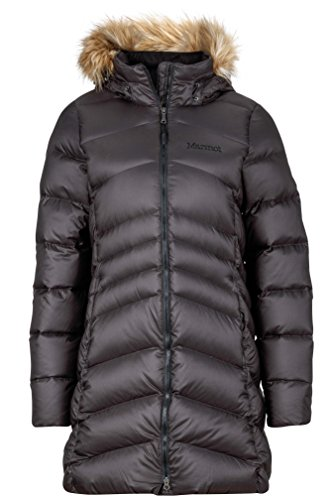 Marmot Women's Montreal Knee-Length Down Puffer Coat, Fill Power 700, Jet Black,Medium