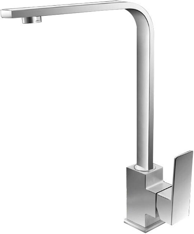 Wasserhahn FJH Bleifreie 304 Edelstahl Küchenarmatur Heie Und Kalte Waschbecken Quadrat Kann Aus Dem Wasser Gedreht Werden