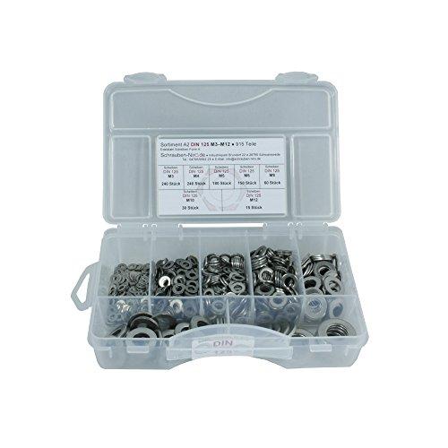 Sortiment Edelstahl A2 Unterlegscheiben DIN 125 in den größen M3 - M12, Set beinhaltet 915 Teile, Material: VA V2A