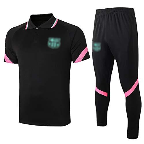 BVNGH Traje de Entrenamiento de Camiseta de fútbol de Barcelona, 2021 New Temporada Uniforme de fútbol de fútbol Rendimiento de Manga Corta Transpirable y Secado rápido black1-XXL